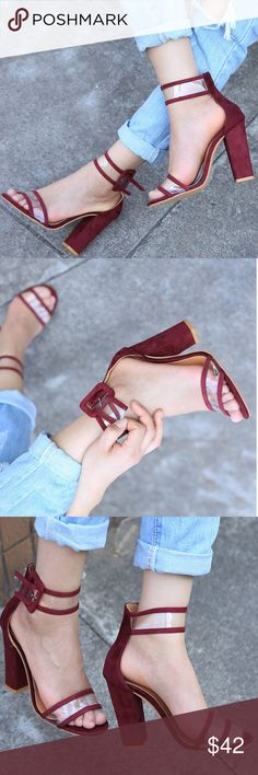 """Staple Buckle Block Heel arriving🔜, incredibly gorgeous block heel & clear strap for a stunning look to spice up your casual wear, this listing is for the maroon color, get the other colors in a separate listing  ❤Add this to your """"likes"""" to get sales news. 🎁Optional: Purchase """"arriving🔜"""" items now & I'll automatically ship them to you when they arrive back in stock. Shoes"""