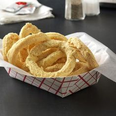 Onion Rings Recipe from Taste of Home --  Graham cracker crumbs coat Twizzlers to create the illusion of deep-fried goodness. #April_Fools