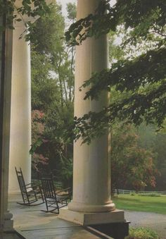 The front porch of Bulloch Hall, an antebellum home in Roswell Ga and the home of Mittie Bulloch, mother of Theodore Rosevelt.