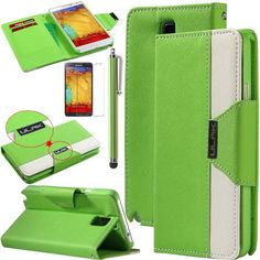 Note 3 Case, Galaxy Note 3 Flip Case - ULAK Luxury PU Leather Colorful Wallet Magnetic Case for Samsung Galaxy Note 3 Note III N9000 with Screen Protector and Stylus (Green/White) ULAK http://www.amazon.com/dp/B00G45PV22/ref=cm_sw_r_pi_dp_fzGkub13PKKHX