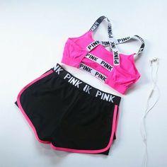 Victoria's Secret PINK 2017 summer sports bra shorts, women's jogging, shock yoga, fitness vest, underwear two sets – SummerBlue Teen Fashion Outfits, Pink Outfits, Dance Outfits, Sport Outfits, Trendy Outfits, Summer Outfits, Pink Fashion, Vs Pink Outfit, Fashion Women