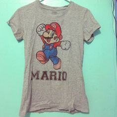Adorable Mario t-shirt w #1 on the back! Super comfortable and soft! only worn once, still in excellent condition. XL fits more like M-L Super Mario Tops Tees - Short Sleeve
