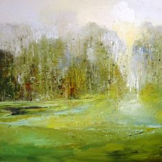 'Morning in mist' by Claire Wiltsher 80cm x 80cm mixed media £895 www.lyndhurstgallery.co.uk