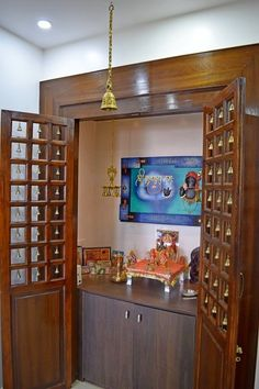 Puja room Simple tricks to build a Beautiful Pooja Room for Indian Homes How to choose contemporary Pooja Room Door Design, Bedroom Door Design, Home Room Design, Home Interior Design, House Design, Interior Doors, Indian Bedroom Design, Indian Home Design, Altar