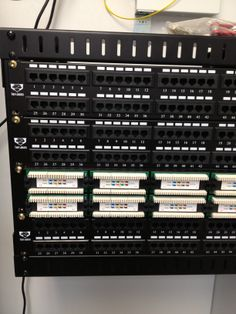 The tight fit of this server room included a patch panel that fit just right into the rack.