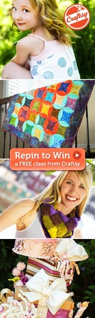 """and register on Craftsy (it only takes a sec and it's free) or sign in with your existing account! *** Next, click """"Repin"""" for a bigger chance to win!."""