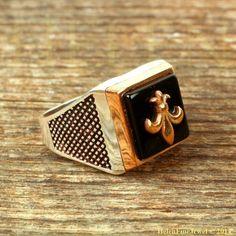 Magnificent Sultan Süleiman Square Shape Onix Stone Man Ring Silver Jewelry 925 #Handmade