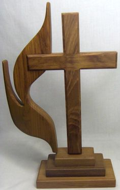 Wooden Free Standing United Methodist Cross and Flame Christian Religious