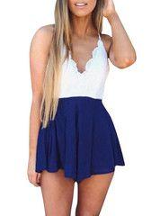 Blue & White Lace Romper- Features Geometric Crochet White Top