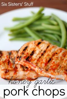 Honey Garlic Pork Chops from SixSistersStuff.com.  Don't put your grill away for summer before you try this tasty recipe! #grilling #pork #dinner