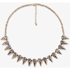 FOREVER 21 Rhinestoned Spikes Chain Necklace (9.13 AUD) ❤ liked on Polyvore featuring jewelry, necklaces, accessories, spikes jewelry, spike necklace, short chain necklace, forever 21 necklaces and lobster clasp necklace