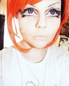 Probably one of my fav selfies #selfie #cosplay #cosplayselfie #anime #animeeyes #animeeyemakeup #kawaiieyes #kawaii #pinkeyes #pinkcirclelenses #bigeyes #eyemakeup #falseeyelashes #cosplaymakeup #eyeliner #cute #cutecosplay #redhead #redwig #wig