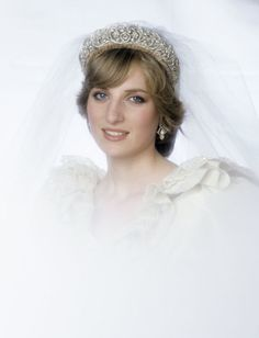 Diana, Princess of Wales.  Pretty, soft look - my favorite of her wedding photos.  She said she hated the way her hair looked on her wedding day - she was so hot in that dress and she was sweating and the humidity was so bad - her hair went flat!