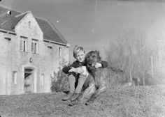 Ted Rickson, an evacuee from Kennington in London, sits with his arm around Moira the Irish wolfhound on the grass outside Dartington Hall in Totnes, South Devon in 1941.