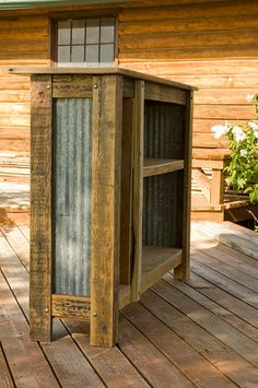 Dry Bar Or Booth Stand Made From Corrugated Metal And Rustic Barnwood