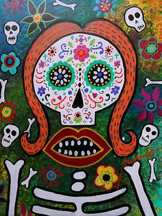 MEXICAN Folk Art DAY OF THE DEAD Flowers KISS Skull Prisarts Original_PRISTINE