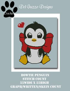 Bowtie Penguin Blanket Crochet Graph Graphghan Pattern Word Chart WITH WRITTEN INSTRUCTIONS, skein and stitch count by DelGuzzoDesignStudio on Etsy