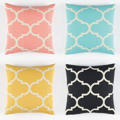 A sensational and diverse range of cushion covers in a tile pattern. Select one pattern or combine with the zig zag design to create an impressive decorating statement in living and bedroom areas. Available in aqua, black, coral and yellow.