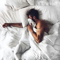 boy, tattoo, and bed image