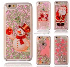 Christmas phone cases for iphone7 iphone 7 6 6s plus S7 S6 note 5 hard PC flash drift sand Protective cover case hard defender case