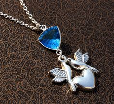 Swiss Blue Quartz DOVE Bird Charm Necklace / by gemsnjewelryworld