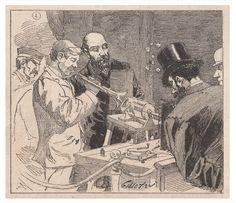 Une séance d'enregistrement d'un morceau de trompette sur un tinfoil entraîné par un moteur électrique extérieur durant l'Exposition Internationale de l'Électricité à Paris, en 1881 (Le Monde Illustré, 22 octobre 1881).