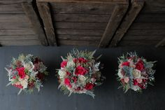 Cerise, Cream & Silver Wedding Bouquets - www.theflowermilldraycott.co.uk