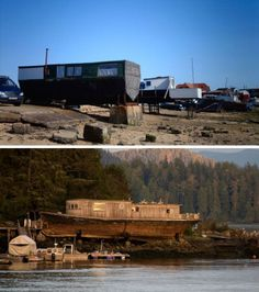 Sure, boats can be floating houses, but what about the old, aging boats that are no longer seaworthy? Just haul them up on land, make a few adjustments and call them reclaimed boat houses. Such homes can be seen in many areas of the world including the Southsea Marina in Hampshire, UK (top image). On Strawberry Island in Tofino, British Columbia, homeowner Rod Palm has turned an old wooden ship into a fun hand-built abode (bottom image).