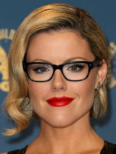 Eye Glasses and Makeup - Kathleen Robertson glasses http://beautyeditor.ca/2013/06/03/hey-four-eyes-if-you-wear-glasses-then-you-probably-need-these-makeup-tips/