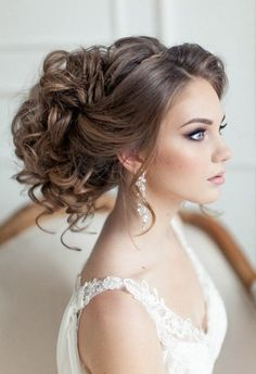 Gorgeous bridal updo wedding hairstyles for 2016 brides. romantic side bridal updo wedding hairstyle with curly details Romantic Wedding Hair, Wedding Updo, Trendy Wedding, Wedding Beauty, Perfect Wedding, Boho Wedding, Wedding Hairstyles For Long Hair, Wedding Hair And Makeup, Elegant Wedding Hairstyles