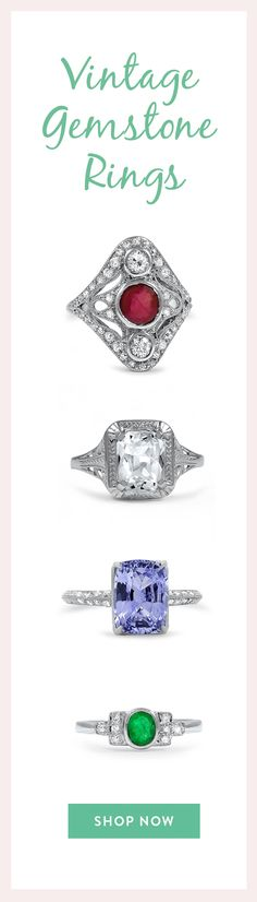 Vibrant gemstones give these vintage engagement rings an eye-catching allure. Brilliant Earth's collection of vintage gemstone rings includes a wide variety of sought-after center gemstones, including sapphires, aquamarines, opals, citrines, amethysts, and more. These timeless rings come from eras of the past dating back to the 1800s. Browse our entire collection and find the ring that speaks to you!