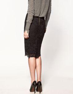 $79 black lace pencil skirt