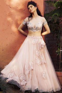 Beautiful net Lehenga with aplique and hand Embroidered blouse. Lehenga Crop Top, Net Lehenga, Indian Wedding Gowns, Indian Gowns, Sharara Designs, Lehenga Designs, Crop Top Dress, Haute Couture Gowns, Lehnga Dress