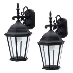 Brighten your outdoor area with this pair of stylish 1-light Victorian-inspired outdoor wall lights from Ever. The black finish and beveled glass will match your home to provide a beautiful lighting appeal. The clear glass panels perfectly illuminate entryways, front porches and garages. Each wall lantern requires one 60W B bulb or a CFL/LED equivalent (not included). For easy installation, mounting hardware and instructions are included.