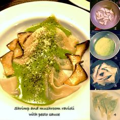 Shrimp and mushroom wanton ravioli with homemade pesto sauce