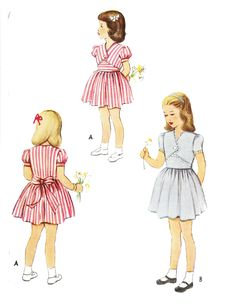 McCall 7279 Girls' Vintage 1940s Fauxlero Dress with Sleeve Options Sewing Pattern by DRCRosePatterns on Etsy