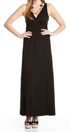Love...Love...Love this Basic Black Super Slimming Stretch Black Maxi Dress! Looks great dressed up or down with any style of jewelry or accessories! Perfect summer fashion  with black strappy wedge sandals! #black #maxi_dress #fashion
