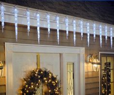 Buy 19 Count Twinkling LED Ice Crystal Icicle Set 9 Feet Christmas Holiday Indoor/Outdoor Use - and Find More Indoor String Lights enjoy up to off. Icicle Lights Outdoor, Icicle Christmas Lights, Holiday Lights, Outdoor Christmas, Outdoor Lighting, Vintage Christmas, Indoor String Lights, Lighted Wine Bottles, Xmas