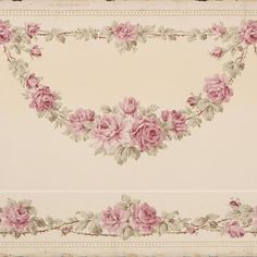 Rose Vine Swags with Lower Border on Tan Background # Rolls: Condition: Fair, tears on selvedge, creases. Rose Wallpaper, Original Wallpaper, Rose Vines, Rose Garland, Borders For Paper, Free Paper, Dollhouse Miniatures, Swag