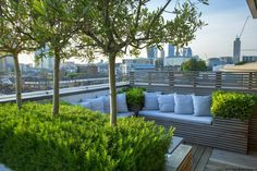 Rooftop In Bermondsey Olive Trees Underplanted With Rosemary Surround Contemporary Built-In Bench On London Roof Terrace Charlotte Rowe Garden Design Outdoor Decor, Garden Design, Outdoor Spaces, Rooftop Terrace Design, Green Roof, House Roof, Pergola Plans, Roof Design
