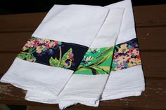 applique a band of fabric across a flour sack kitchen towel