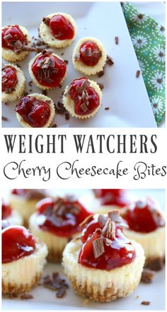 4 FS These Weight Watchers Cherry Cheesecake Bites are simple and perfect for any time of the year. There is only 5 Weight Watchers Smart Points in each serving! Weight Watcher Desserts, Weight Watchers Snacks, Weight Watchers Cheesecake, Cherry Recipes Weight Watchers, Weight Watchers Cupcakes, Weight Watchers Recipes With Smartpoints, Weight Watcher Cookies, Weight Watchers Muffins, Weight Watcher Dinners