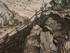 "BRUEGEL Pieter I (d'Après),1555 - Grand Paysage Alpestre, Estampe de Van Doetecum (Custodia) - Detail 25 - TAGS/ drawings dessins ""dessins 16e"" ""16th-century drawings"" ""dessin hollandais"" ""Dutch drawings"" ""peintres hollandais"" ""Dutch painters"" ""peintres hollandais"" Paris France ""Peter Brueghel l'Ancien"" landscape view panorama route road arbres tree trees maisons house colline hill mountain montagne animal animals animaux figures people valley vallée cheval horse cavalier rider Paris France, Vintage World Maps, Artwork, Painting, Printmaking, Horse, Landscape, Animaux, Drawing Drawing"