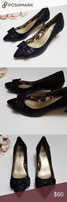 Seychelles Out on Town sequin bow kitten heels In good condition Seychelles kitten heels, size 9. Pointed toe style with adorable bow detail. Small black sequins covering shoe upper. A few sequins are missing on back left heel, but it isn't noticeable when worn.see 6th pic for detail (it is quite hard to tell) Used item: inspected for quality and wear. Pictures show any signs of wear and use. Bundle up! Offers always welcome:) Seychelles Shoes Heels