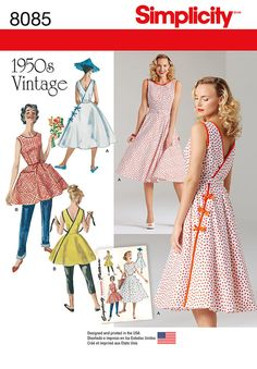 Misses' Vintage 1950's Wrap Dress in Two Lengths, Simplicity S8085