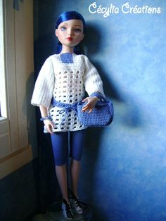 Tunique et accessoires au crochet pour Ellowyne et poupées similaires - http://cecyliacreations.canalblog.com/archives/2013/11/10/28402819.html