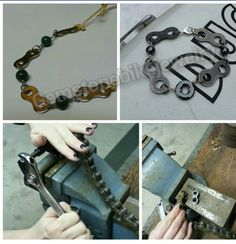 Chain, Bracelets, Silver, Leather, Handmade, Motorcycle, Etsy, Shopping, Jewelry