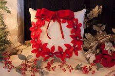 Christmas pillow wreath pillow velvety by TheBurlapCottage on Etsy, $55.00