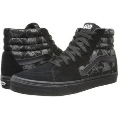 Vans SK8-Hi X Star Wars ((Star Wars) Dark Side/Darth Storm) Lace up... (€38) ❤ liked on Polyvore featuring shoes, sneakers, vans, black, laced sneakers, black sneakers, black suede sneakers, suede sneakers and vans trainers