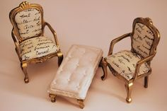 Christel Jensen: Miniature furniture I want these so bad for my doll house! I even have the perfect place for them!
